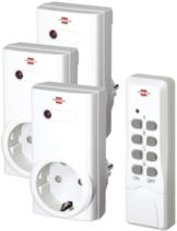 Brennenstuhl Funkschalt-Set RCS 1000 N Comfort, 3er Funksteckdosen Set (mit Handsender und Kindersicherung) Farbe: weiß -